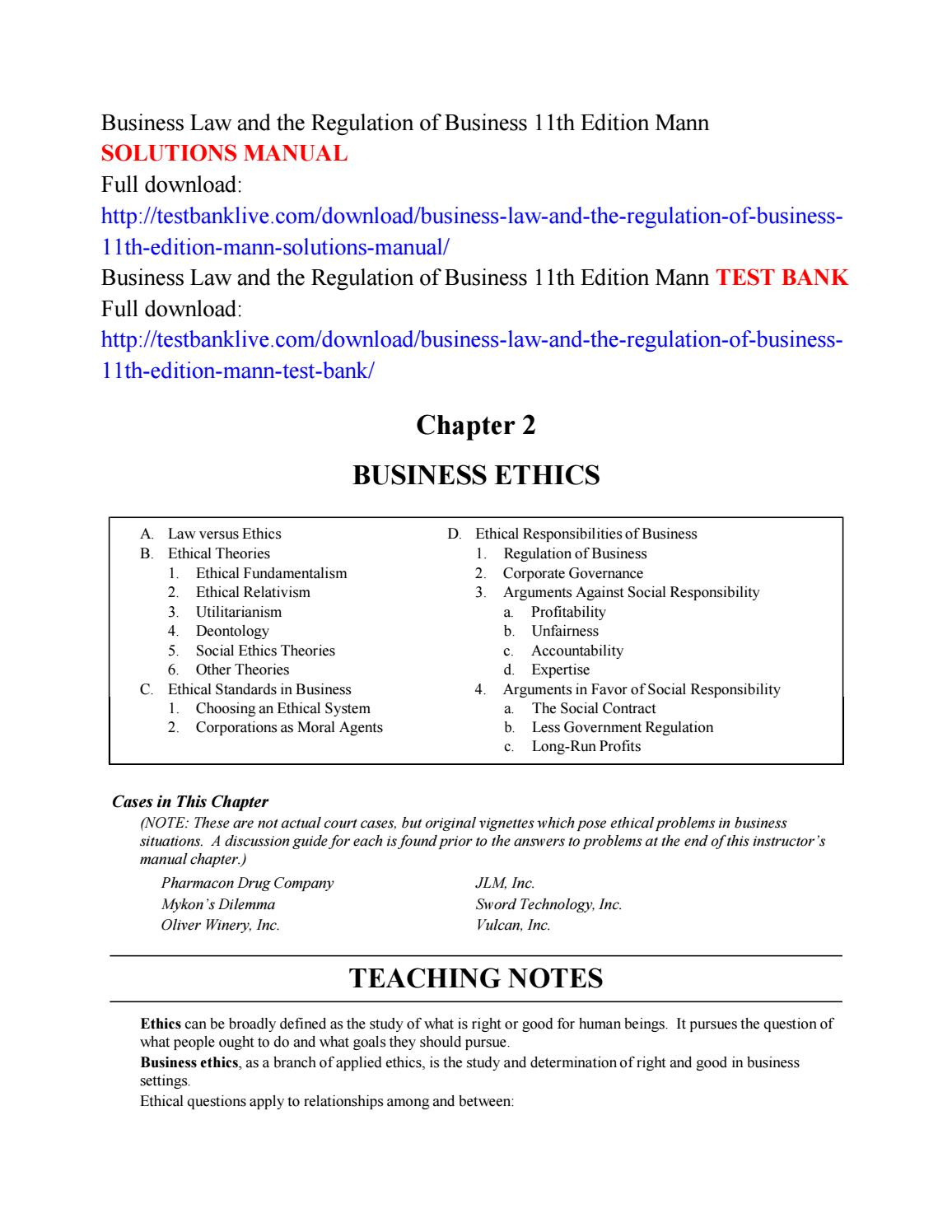 Business law and the regulation of business 11th edition mann