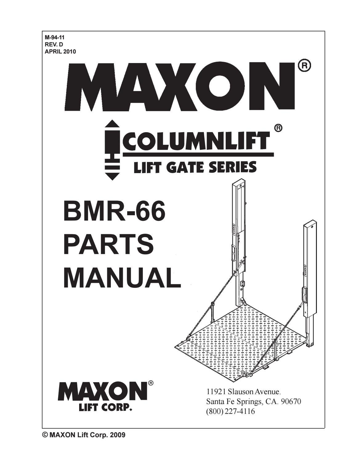 Maxon Bmr Wiring Diagram Daily Update Mcb 30 66 Liftgate Parts Manual By The Co Issuu Rh Com