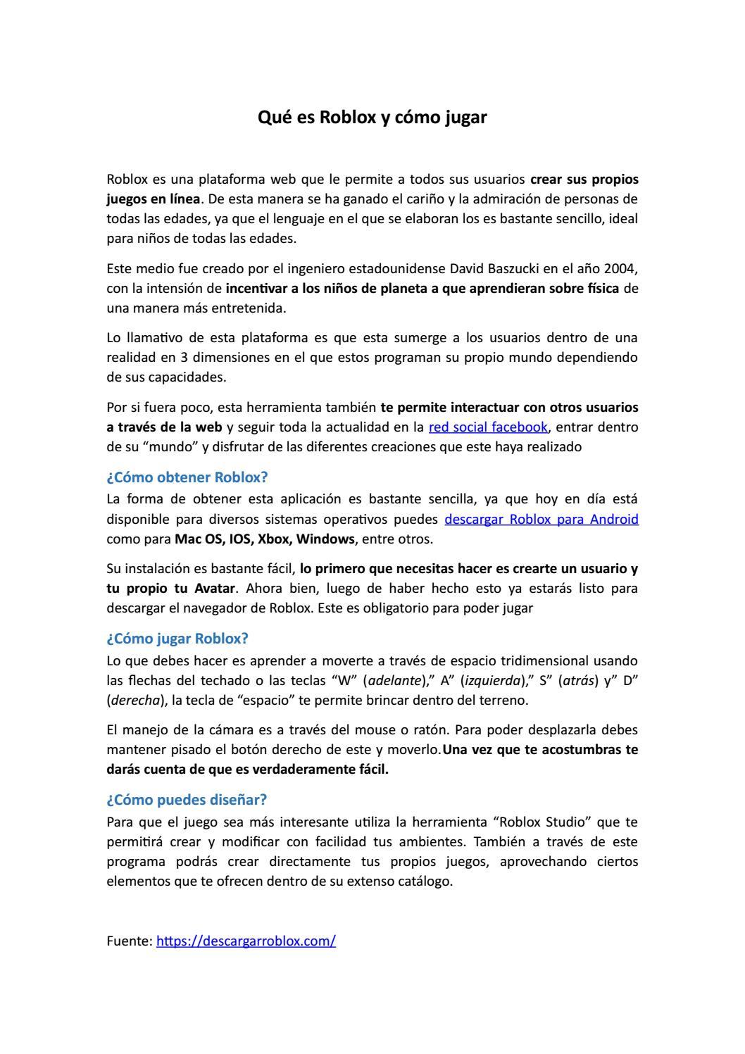 Qué es Roblox y cómo jugar by Descargar Roblox - issuu