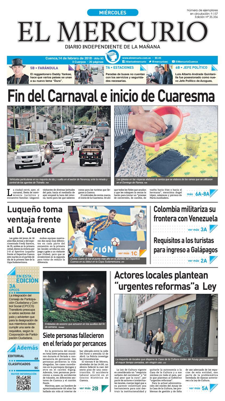 Edicion 14 febrero 2018 by Diario El Mercurio Cuenca - issuu