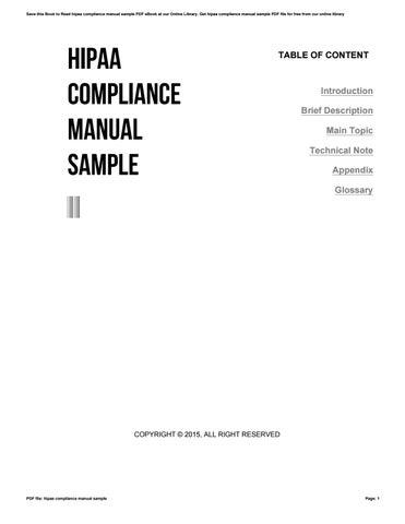 Hipaa compliance manual sample.