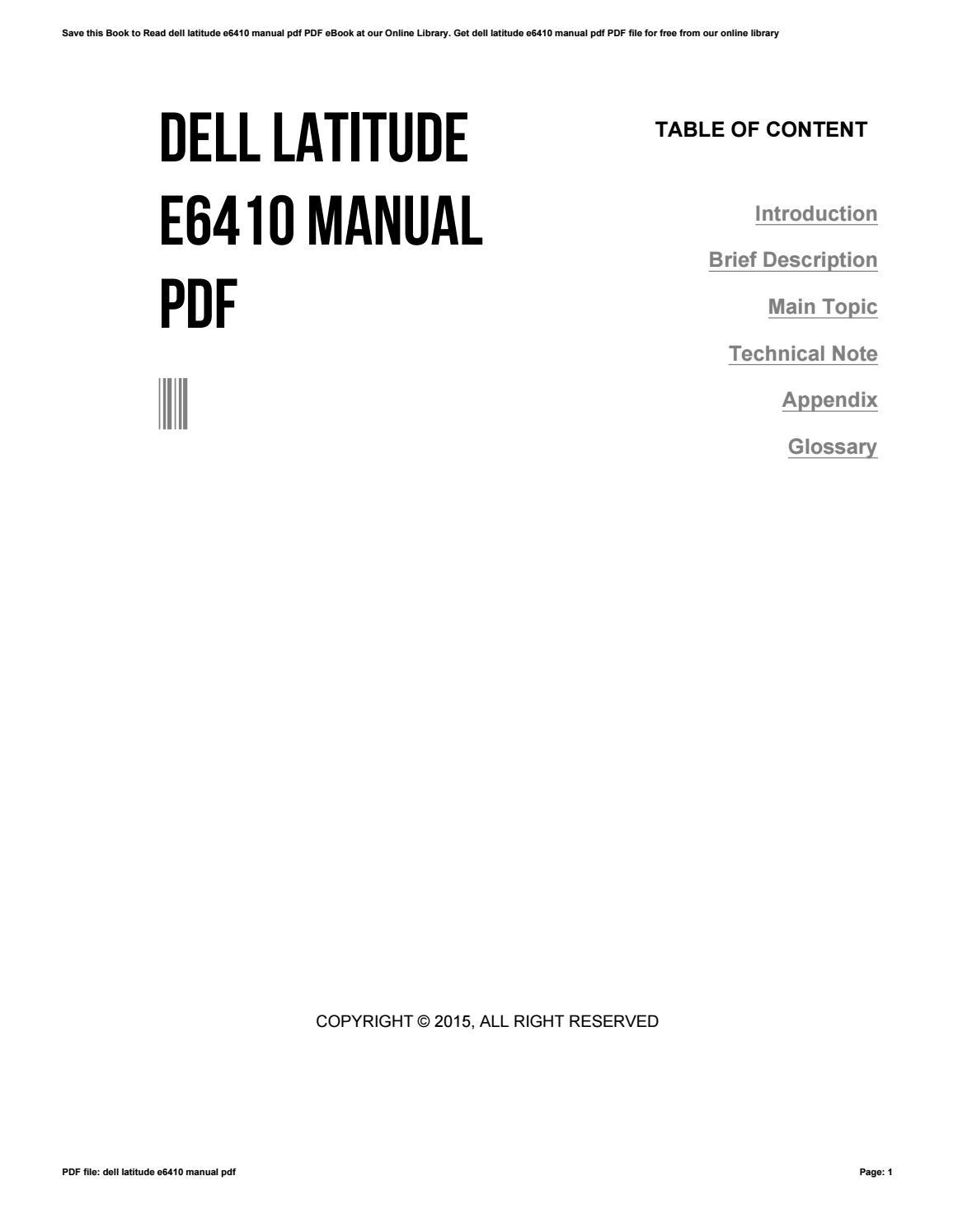 dell e6410 user manual ebook