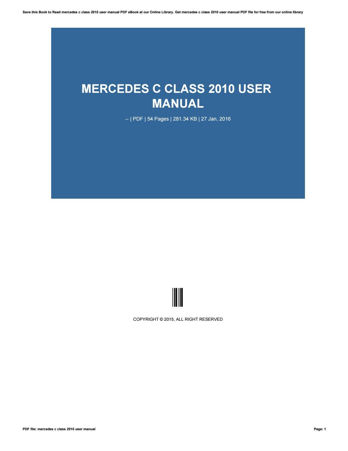 Mercedes C180 Owners Manual Pdf