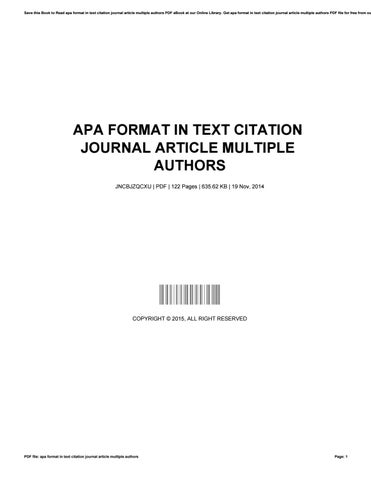 Apa Format In Text Citation Journal Article Multiple Authors