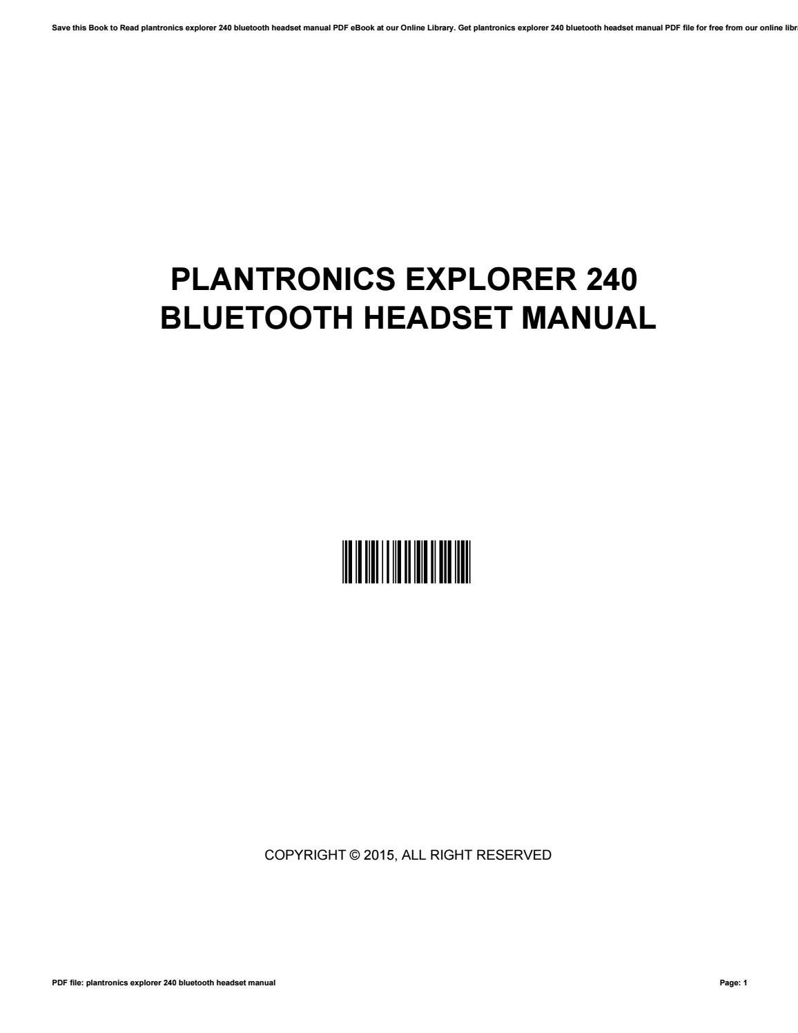 Plantronics Explorer 240 Bluetooth Headset Manual By O085 Issuu