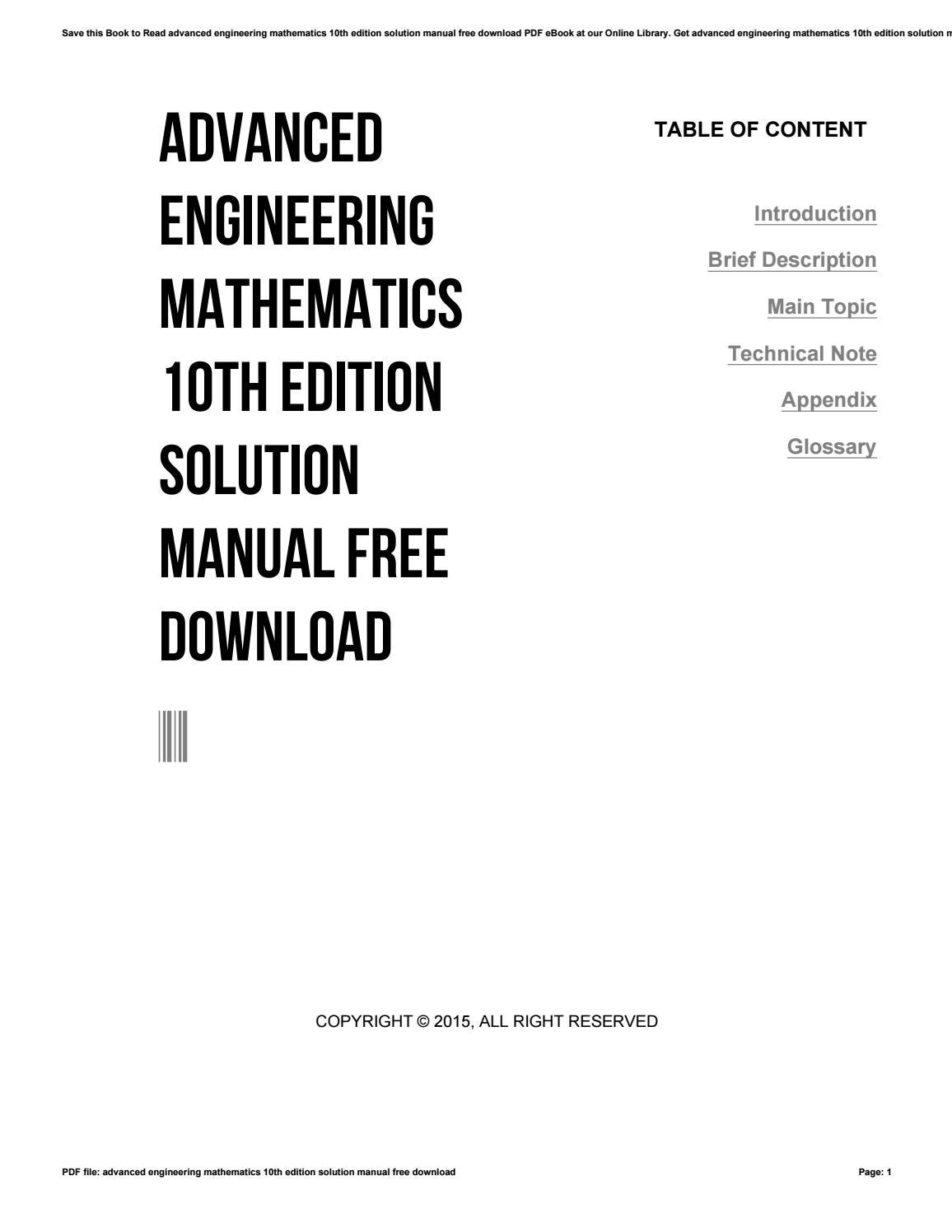 Advanced engineering mathematics 10th edition solution manual free download  by rblx91 - issuu
