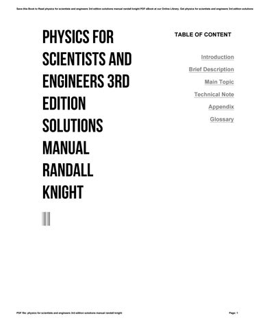 Physics for scientists and engineers 3rd edition solutions manual save this book to read physics for scientists and engineers 3rd edition solutions manual randall knight pdf ebook at our online library fandeluxe Choice Image