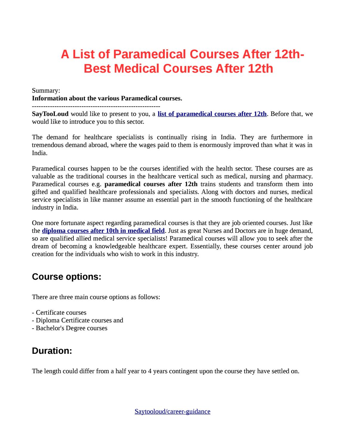 A list of paramedical courses after 12th best medical