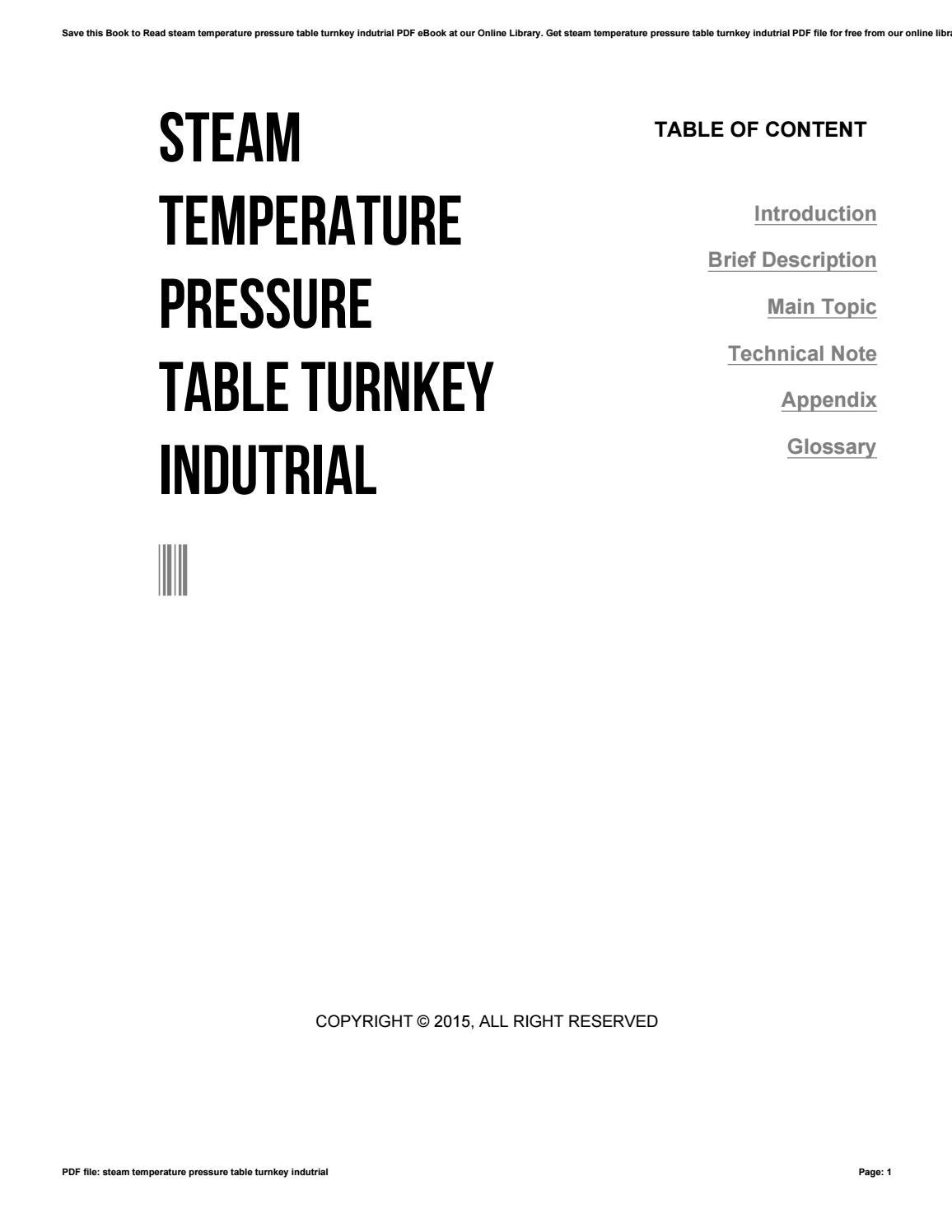 Steam Temperature Pressure Table Turnkey Indutrial By
