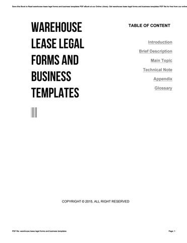 Warehouse Lease Legal Forms And Business Templates By Jklasdf Issuu - Get legal forms