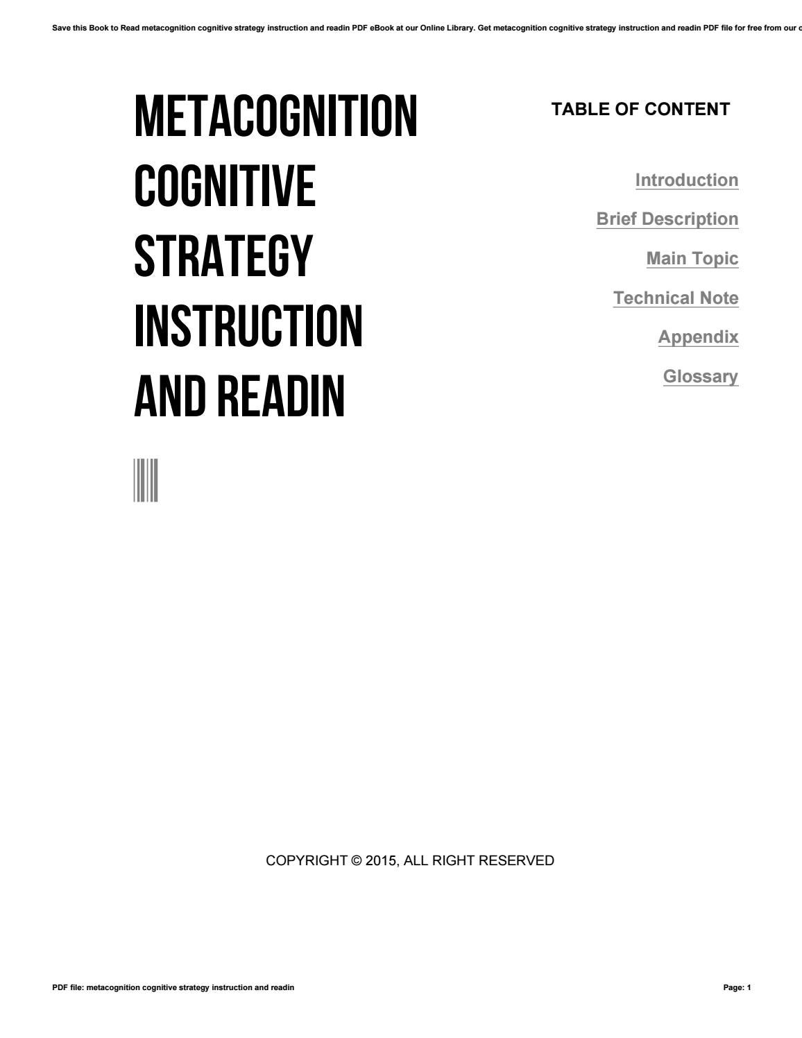 Metacognition Cognitive Strategy Instruction And Readin By C9552 Issuu