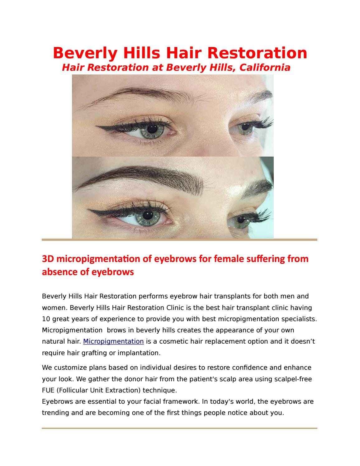 3d Micropigmentation Of Eyebrows In Beverly Hills For Female