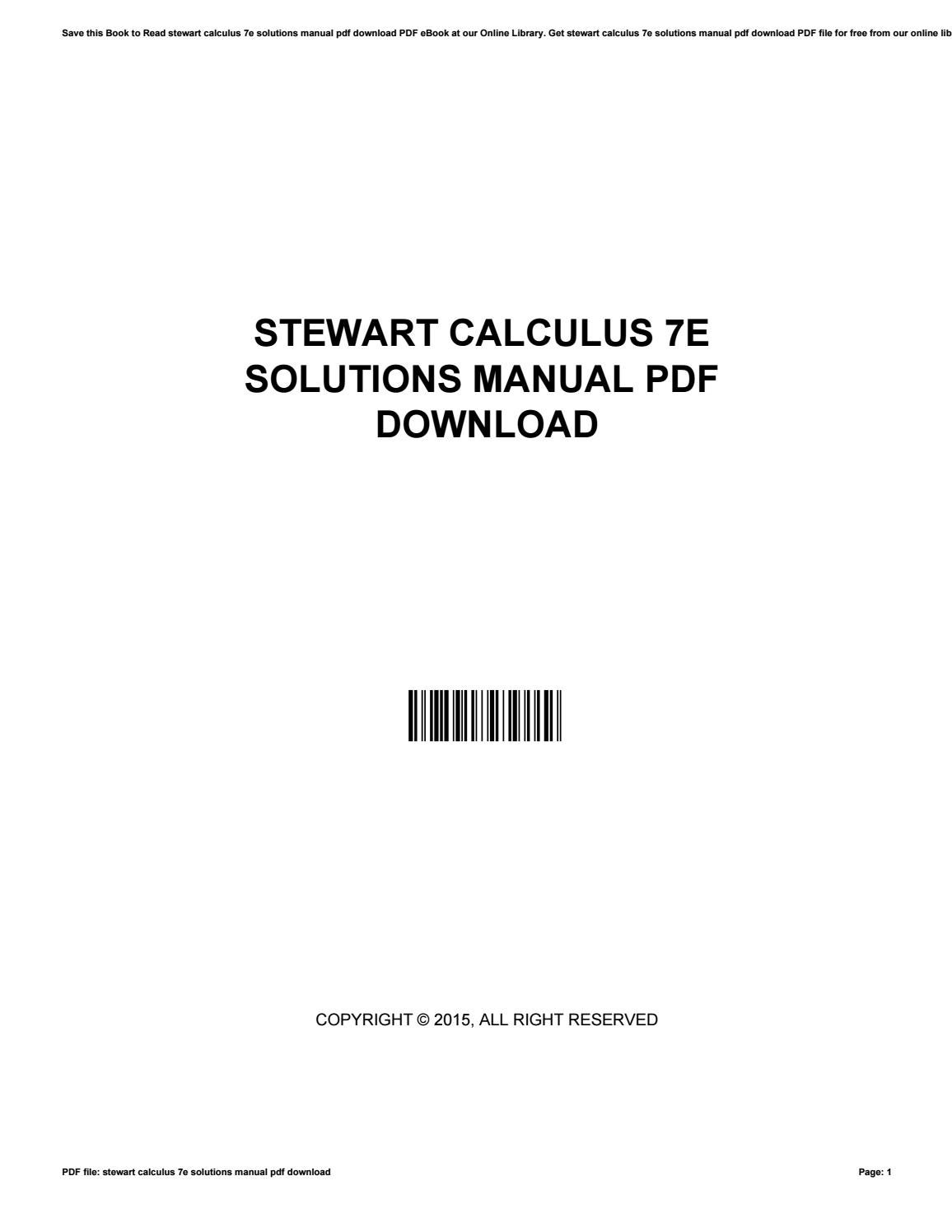 Stewart calculus 7e solutions manual pdf download by morriesworld5682 -  issuu