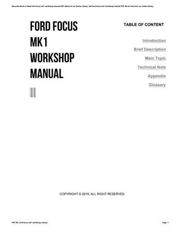 2015 ford focus workshop manual