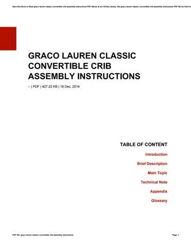 Graco Lauren Classic Convertible Crib Assembly Instructions By I5606
