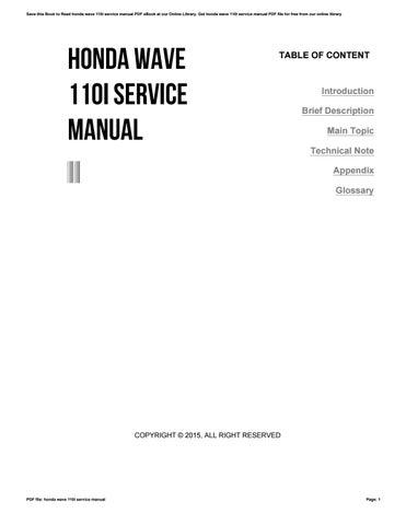 honda wave 110i service manual by dfg639 issuu rh issuu com honda wave 100 user manual honda wave 125 owners manual pdf