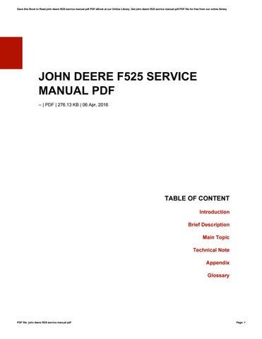 John deere f525 mower manual.