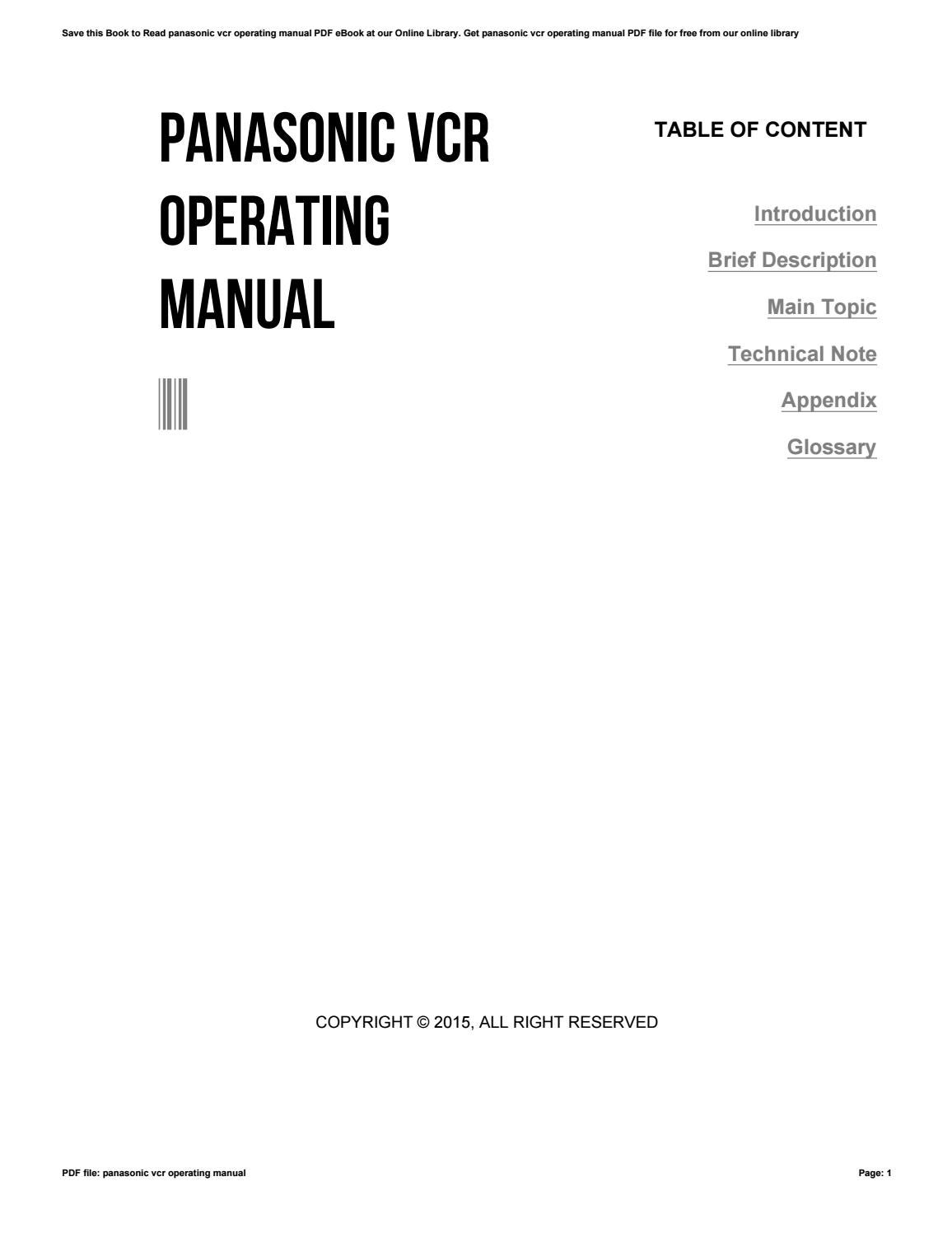 panasonic vcr user manuals ebook