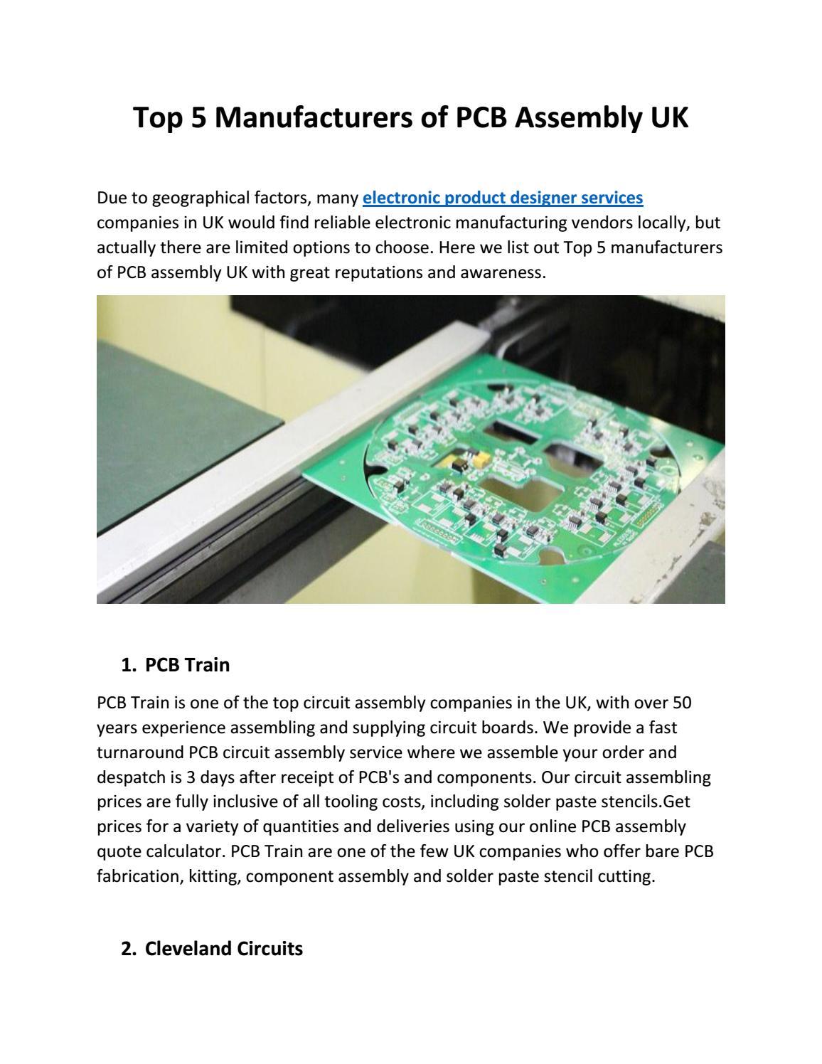 Top 5 Manufacturers Of Pcb Assembly Uk By Technosoftinnovations Issuu Wwwelectronicscircuitstk
