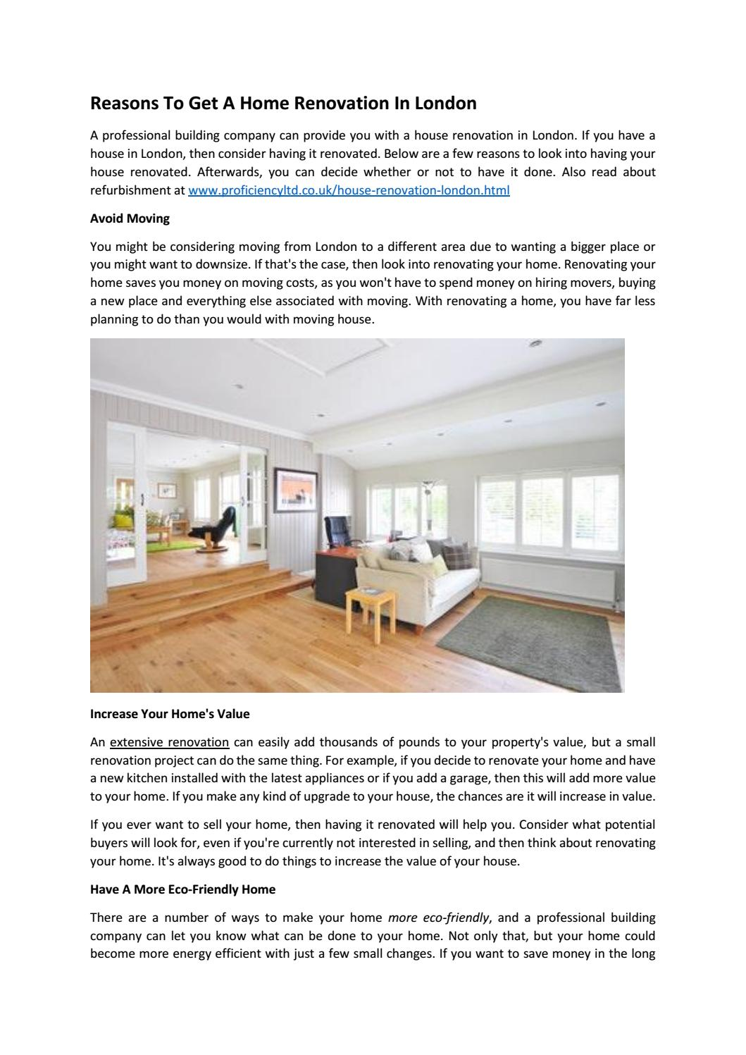 Reasons To Get A Home Renovation In London By Proficiency ...