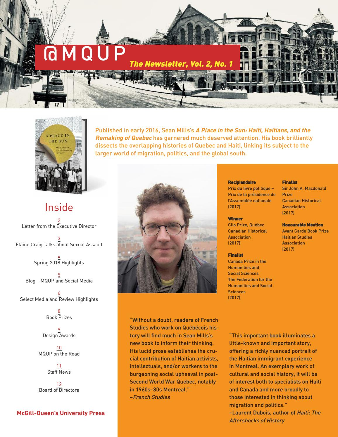 MQUP - The Newsletter, Vol  2, No  1 by McGill-Queen's University