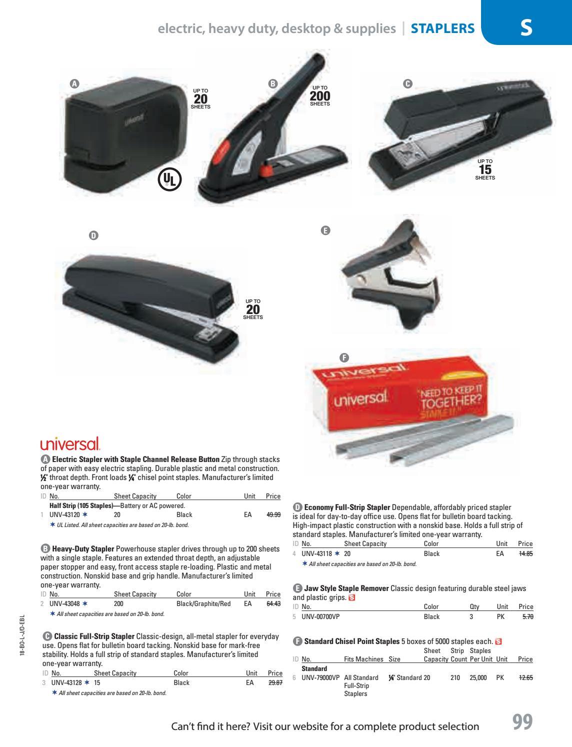 Plastic/Metal Heavy-Duty Stapler UNV43048 Manual Staplers Office ...