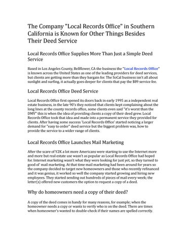 The company local records office in southern california is known for