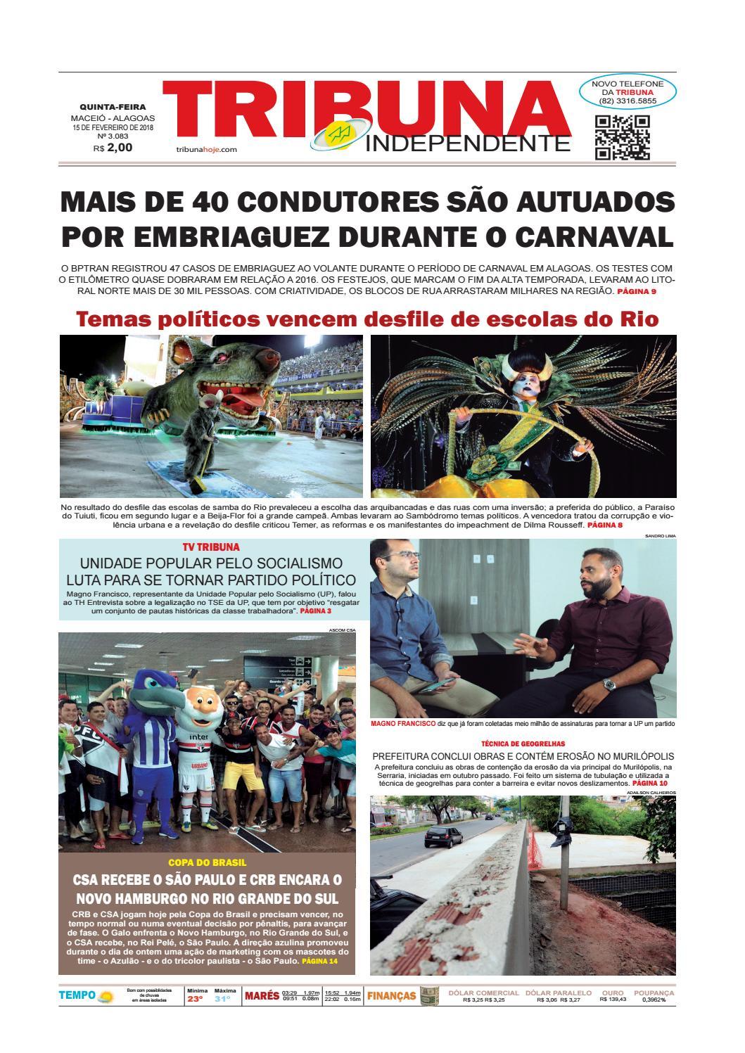 9e341fe468fb0 Edição número 3083 - 15 de fevereiro de 2018 by Tribuna Hoje - issuu