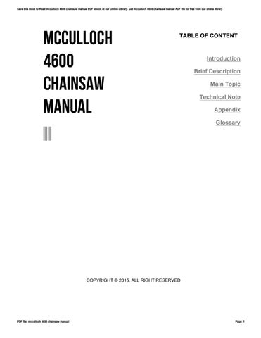 Mcculloch 4600 chainsaw manual by kotsu01544 issuu save this book to read mcculloch 4600 chainsaw manual pdf ebook at our online library get mcculloch 4600 chainsaw manual pdf file for free from our online fandeluxe Images