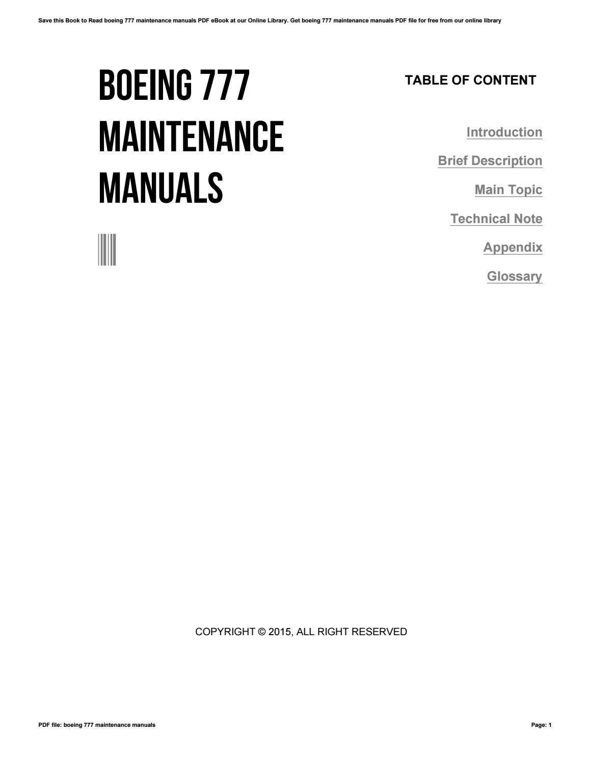 maintenance manual for a boeing 777
