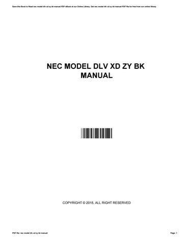 Nec Model Dlv Xd Zy Bk Manual By KristieOwens1883 Issuu