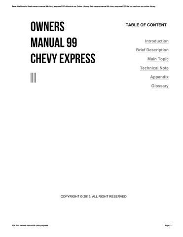 owners manual 99 chevy express by wierie60 issuu rh issuu com 1999 Chevy 3500 Express Van 1999 Chevy Express Parts