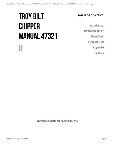 Troy bilt chipper manual 47321 by wierie60 issuu save this book to read troy bilt chipper manual 47321 pdf ebook at our online library get troy bilt chipper manual 47321 pdf file for free from our online fandeluxe Images
