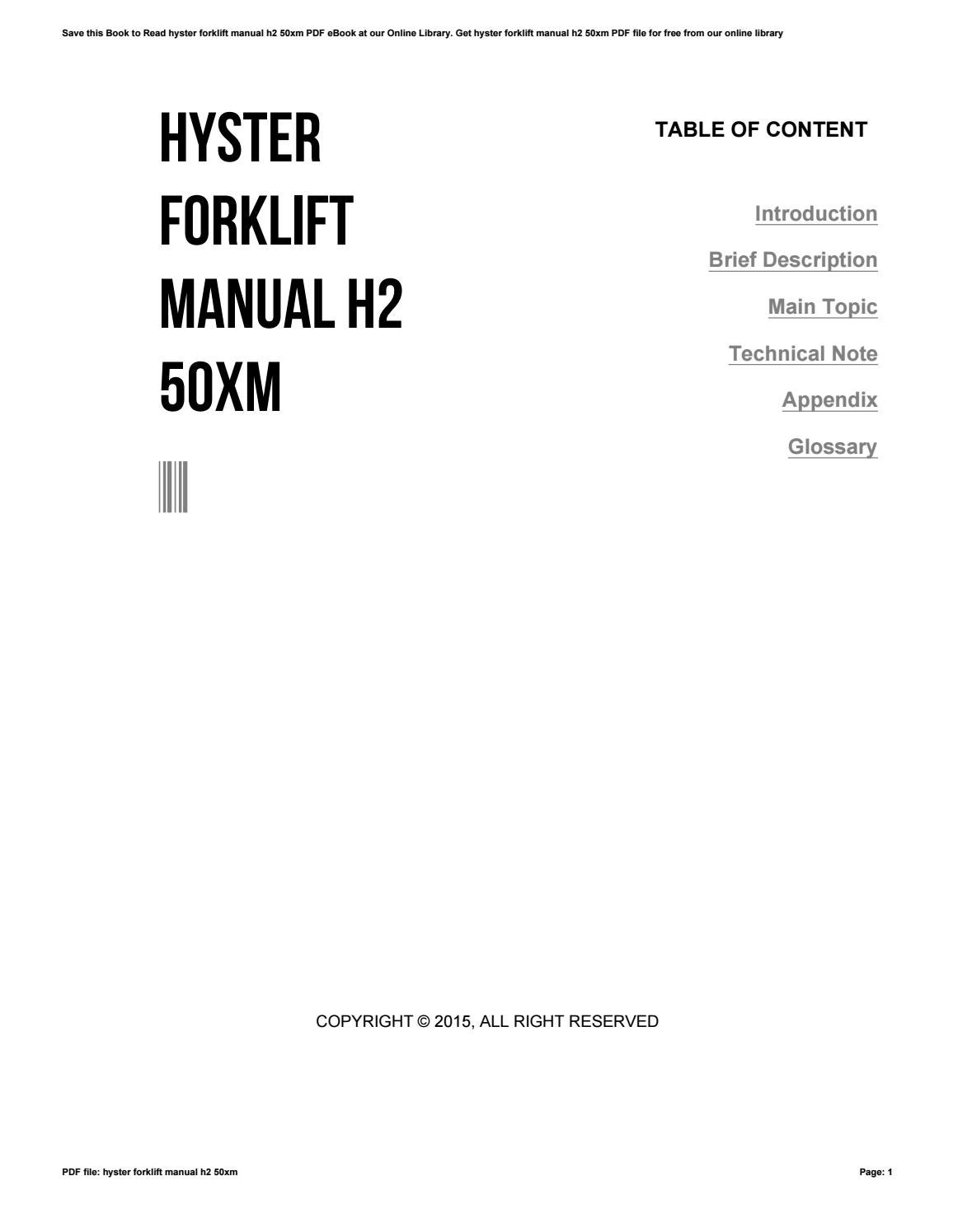 Hyster forklift manual h2 50xm by laoho68 - issuu