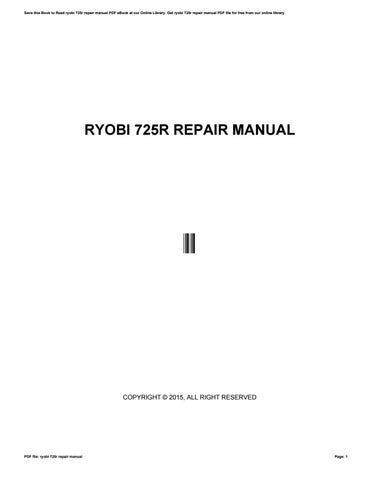 Cleaning and storage | ryobi 725r user manual | page 22 / 26.
