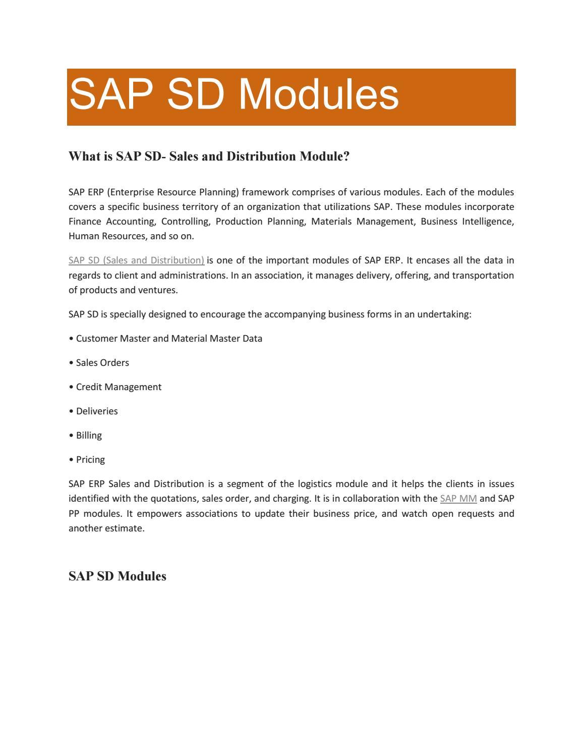 SAP SD Training PDF by shruti allentics - issuu
