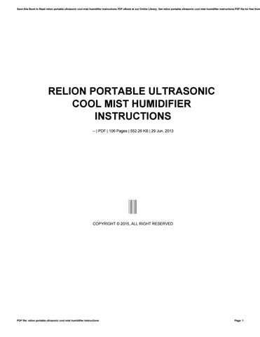 Relion Portable Ultrasonic Cool Mist Humidifier Instructions By