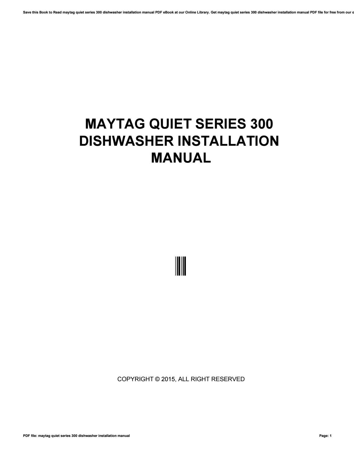 Maytag Dishwasher Quiet Series 300 Wiring Diagram