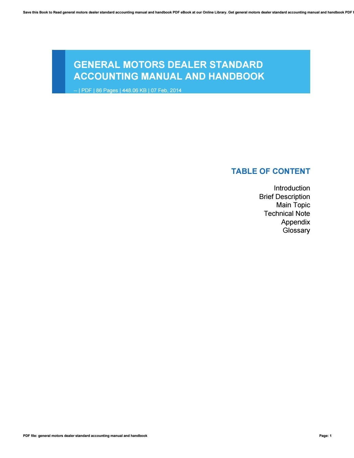 General motors dealer standard accounting manual and handbook by u097 -  issuu