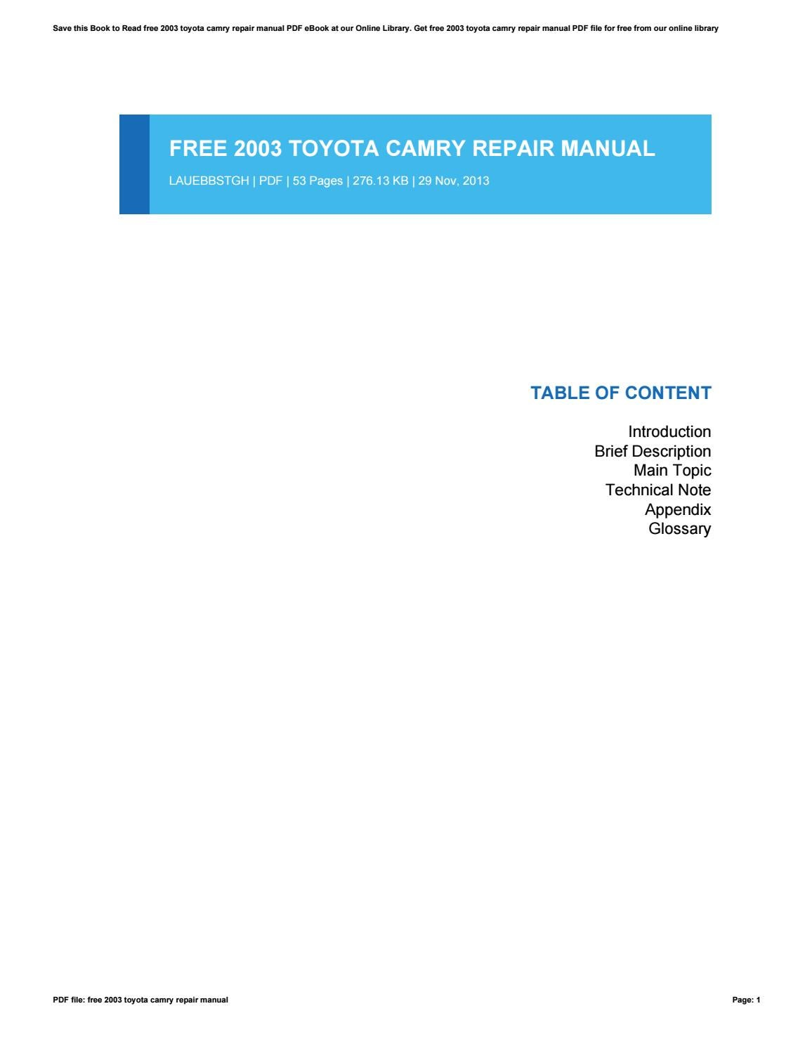 2003 toyota camry owners manual pdf free download
