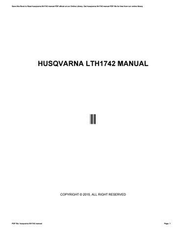 husqvarna lth1742 manual