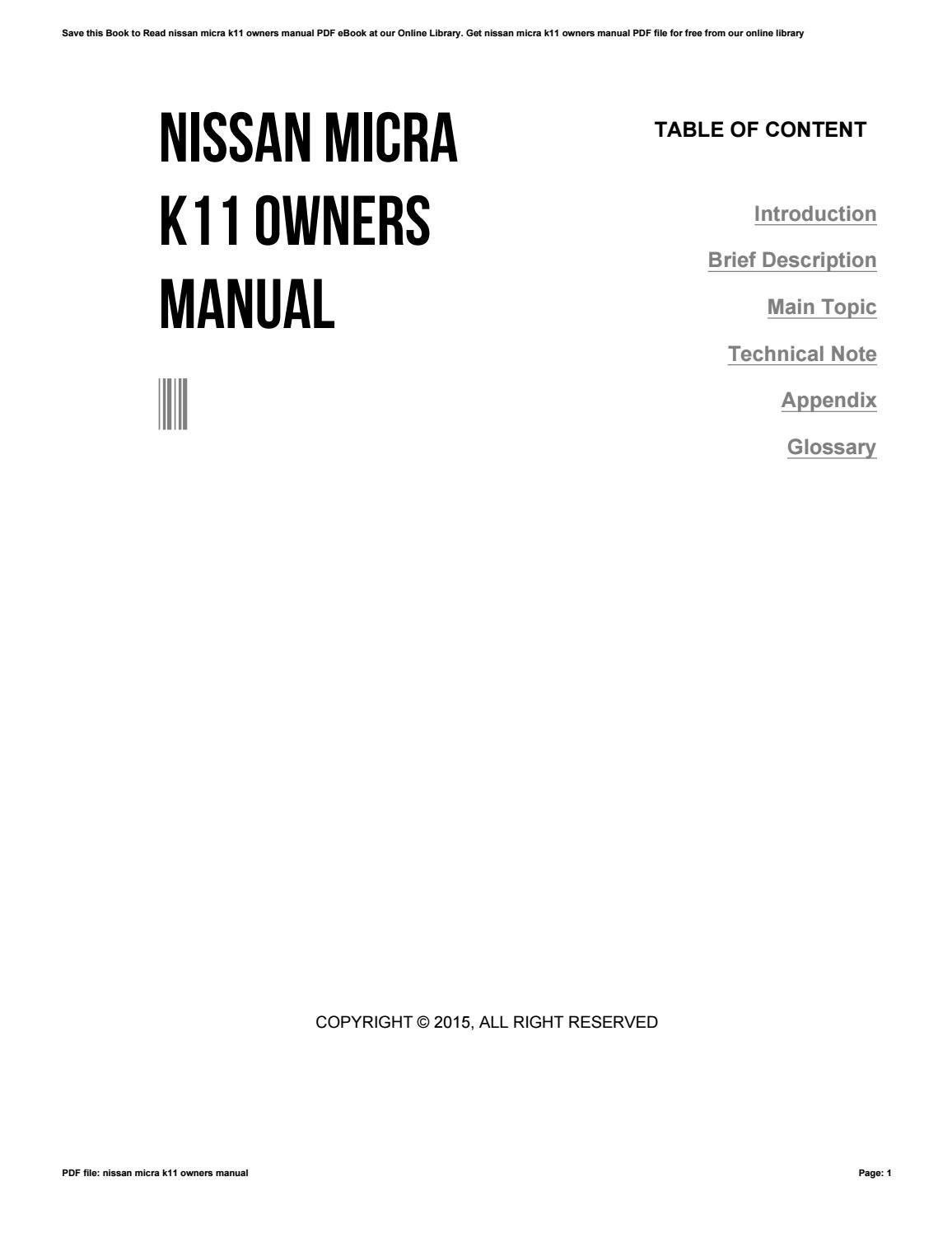 nissan micra k11 owners manual by isdaq82 issuu rh issuu com nissan micra k11 service manual pdf nissan micra k12 service manual pdf