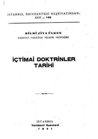 Hilmi Ziya Ulken Içtimai Doktrinler Tarihi By Gafuralim Issuu