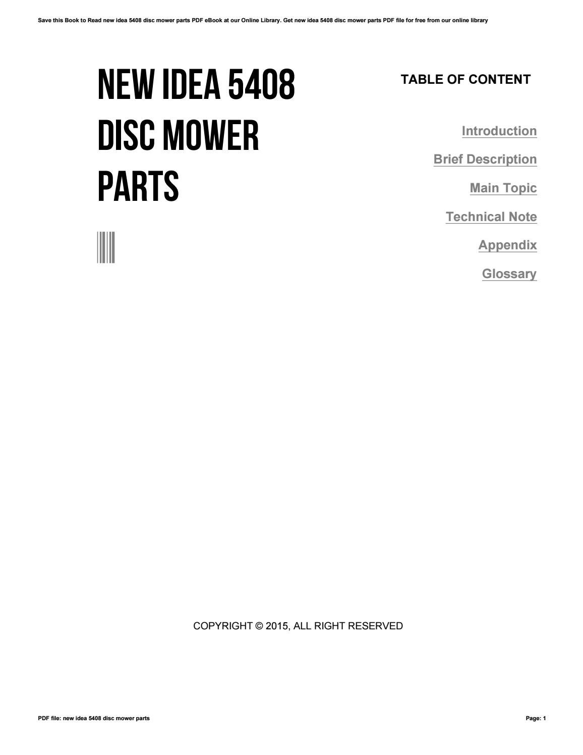 New idea 5408 disc mower parts by e4469 - issuu. repair manual ...