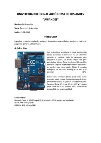 Tipos De Arduino By Kevin Aguilar Issuu