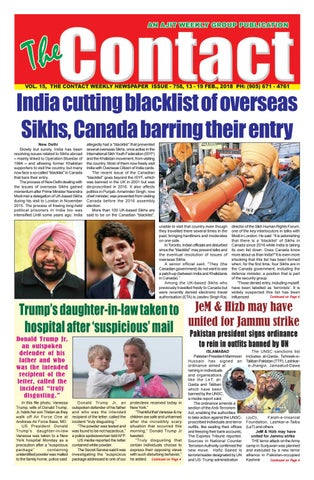 15, THE CONTACT WEEKLY NEWSPAPER ISSUE - 758, 13 - 19 FEB., 2018 PH: (905)  671 - 4761