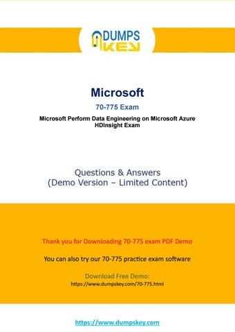 Actual 70-775 Dumps - Perform Data Engineering on Microsoft Azure