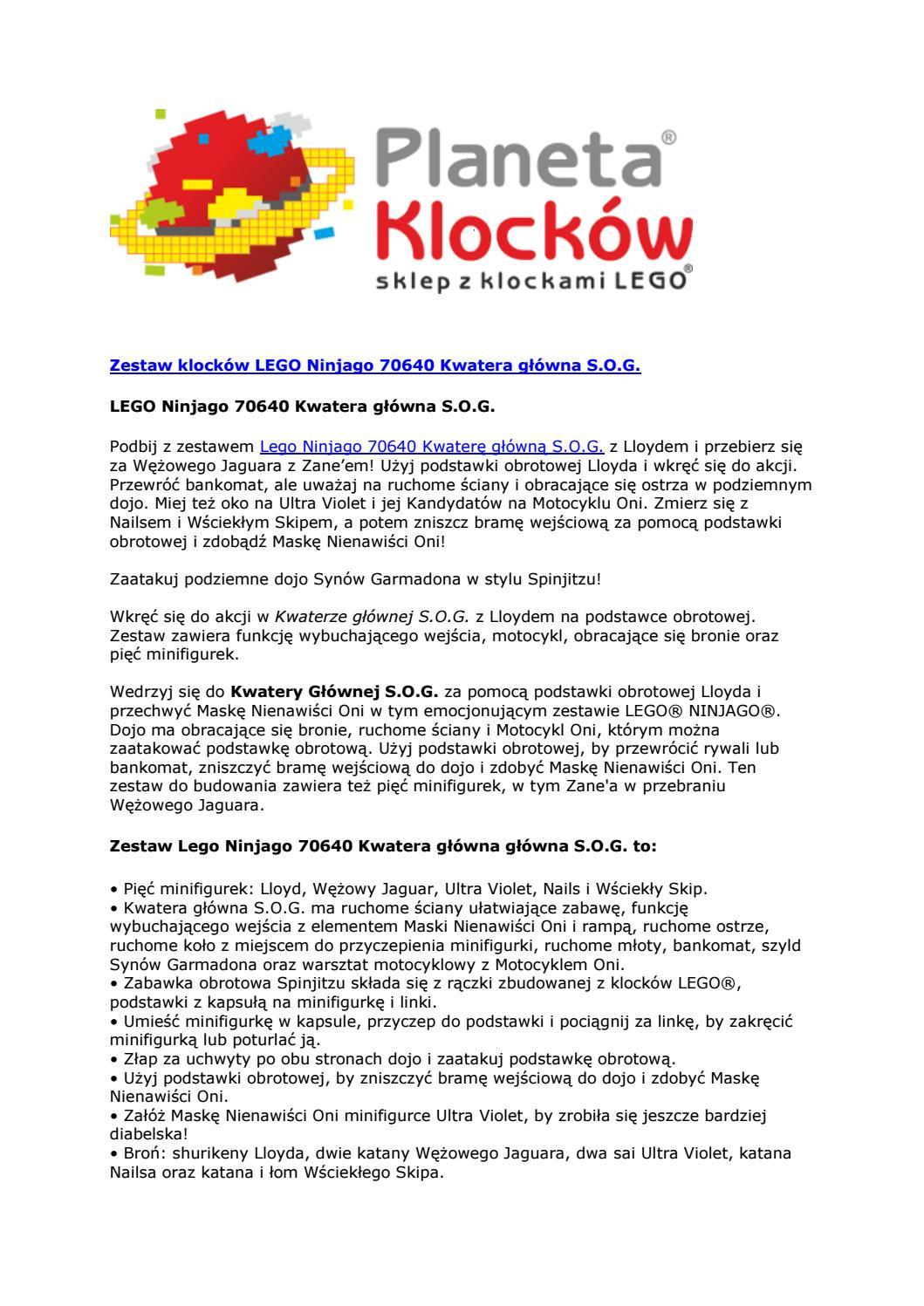 Zestaw Klocków Lego Ninjago 70640 Kwatera Główna S O G By Planeta