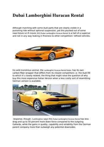 Lamborghini Huracan Rental Dubai By Dibyamkumar3456 Issuu