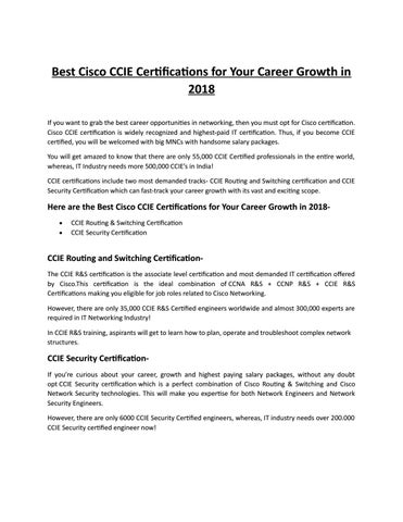 Best Cisco CCIE Certifications for your Career Growth in 2018 by